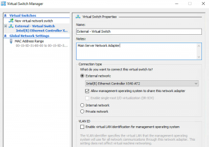 Create Virtual Switch on Main Server Hyper-V