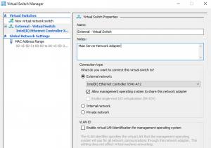 Create Virtual Switch on Main Server Hyper-V