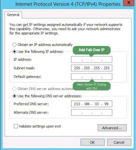 VM Internet Protocol Version 4 (TCP/IPv4) settings