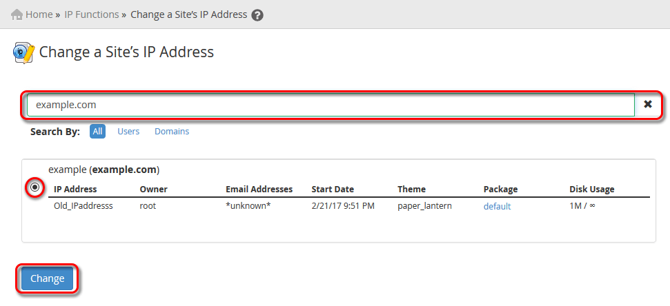 WHM Change a Site's IP Address